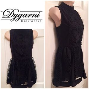 Dygarni black lace sleeveless tunic w skirt